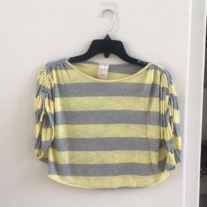 Kids Yellow and gray striped top